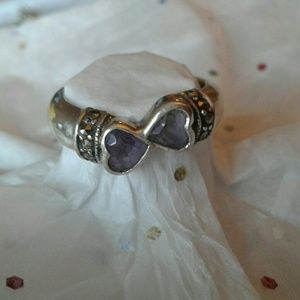 Jewelry - Vintage sterling double amethyst heart ring